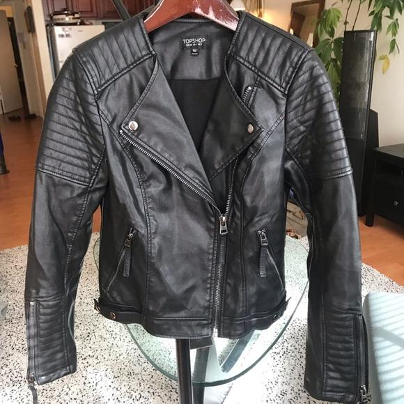 17c7d8234 Topshop Rosa Biker Jacket - Black, Size 4. M_5c68c5279539f7de5271fe9c
